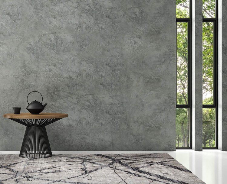 Modern gray Feizy rug in entrance hall