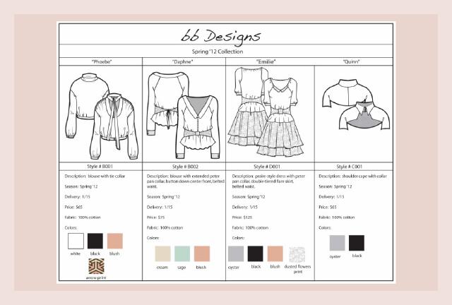 Custom Fashion Industry Line Sheet