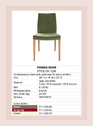 Furniture Industry Line Sheet