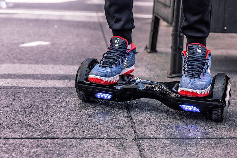 Standing on a hoverboard