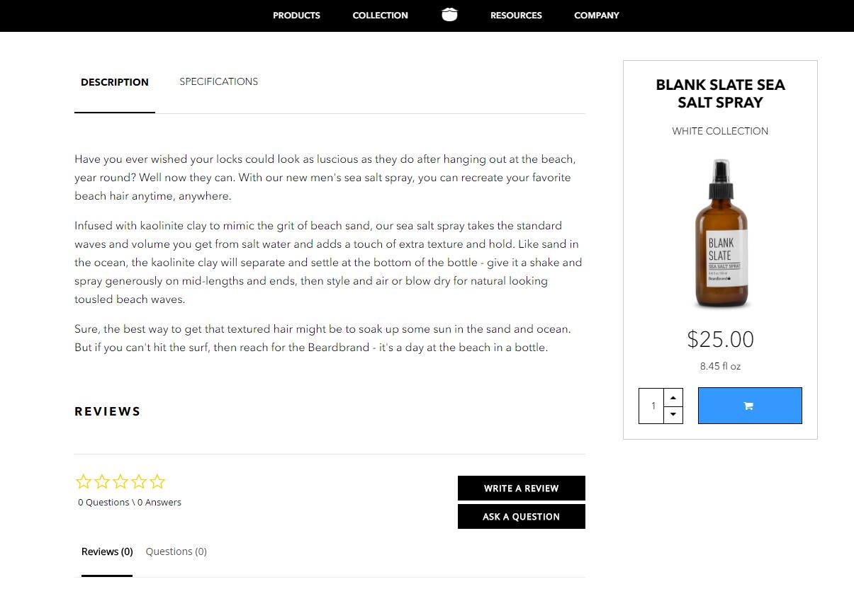 Product Descriptions - Beard Brand - Sea Salt Text