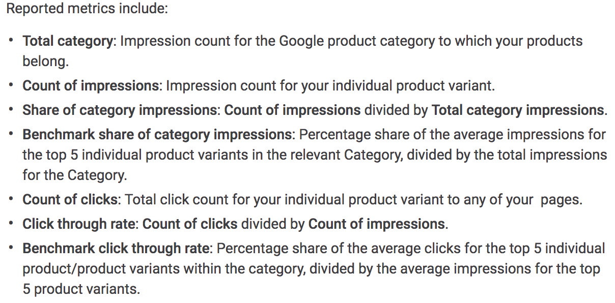 According to Google's documentation, manufacturers can view product impressions, clicks, and click-throughs as well as how these results compare to other products in similar categories.