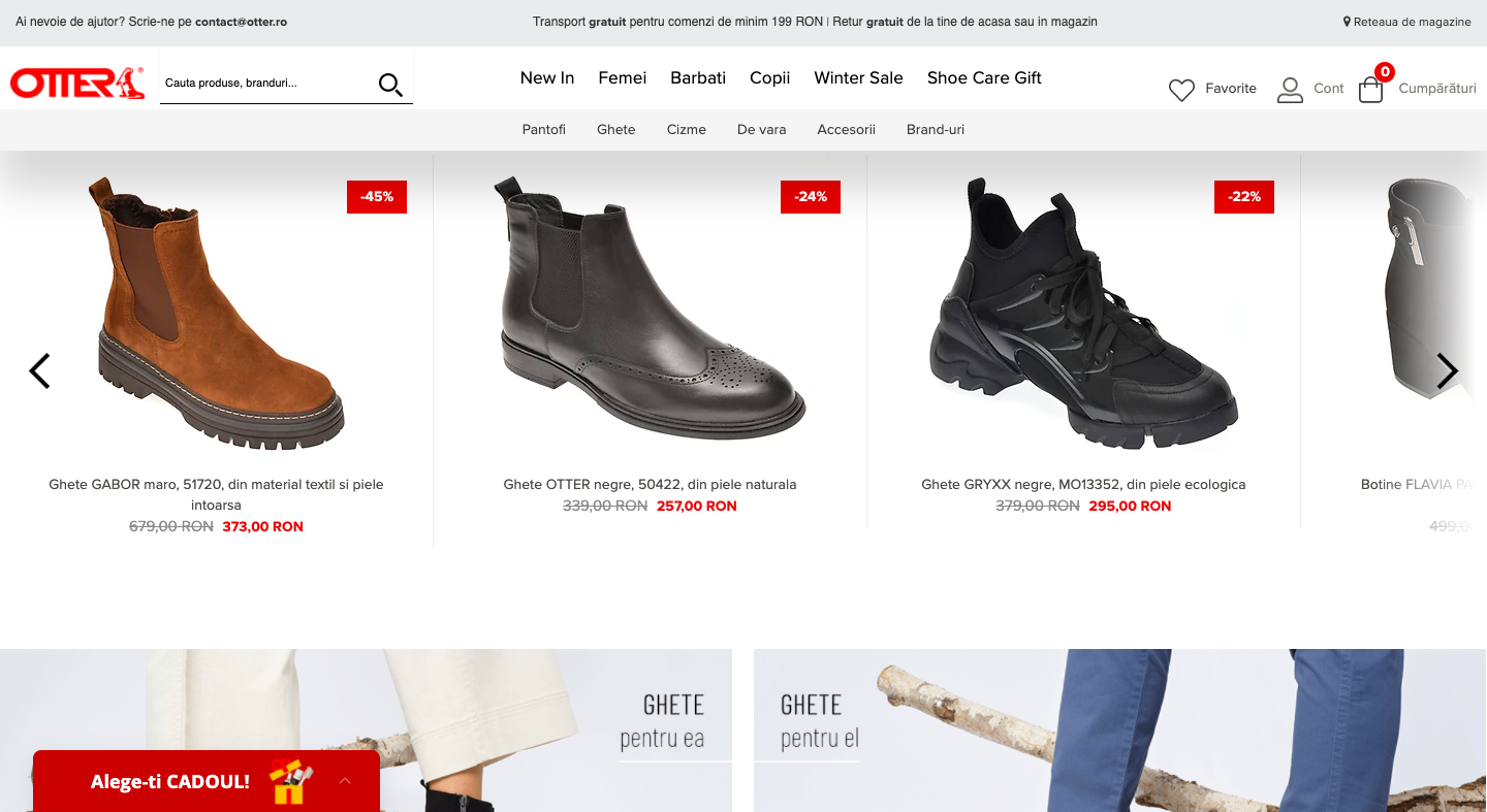 Website display of Otter shoes and product information