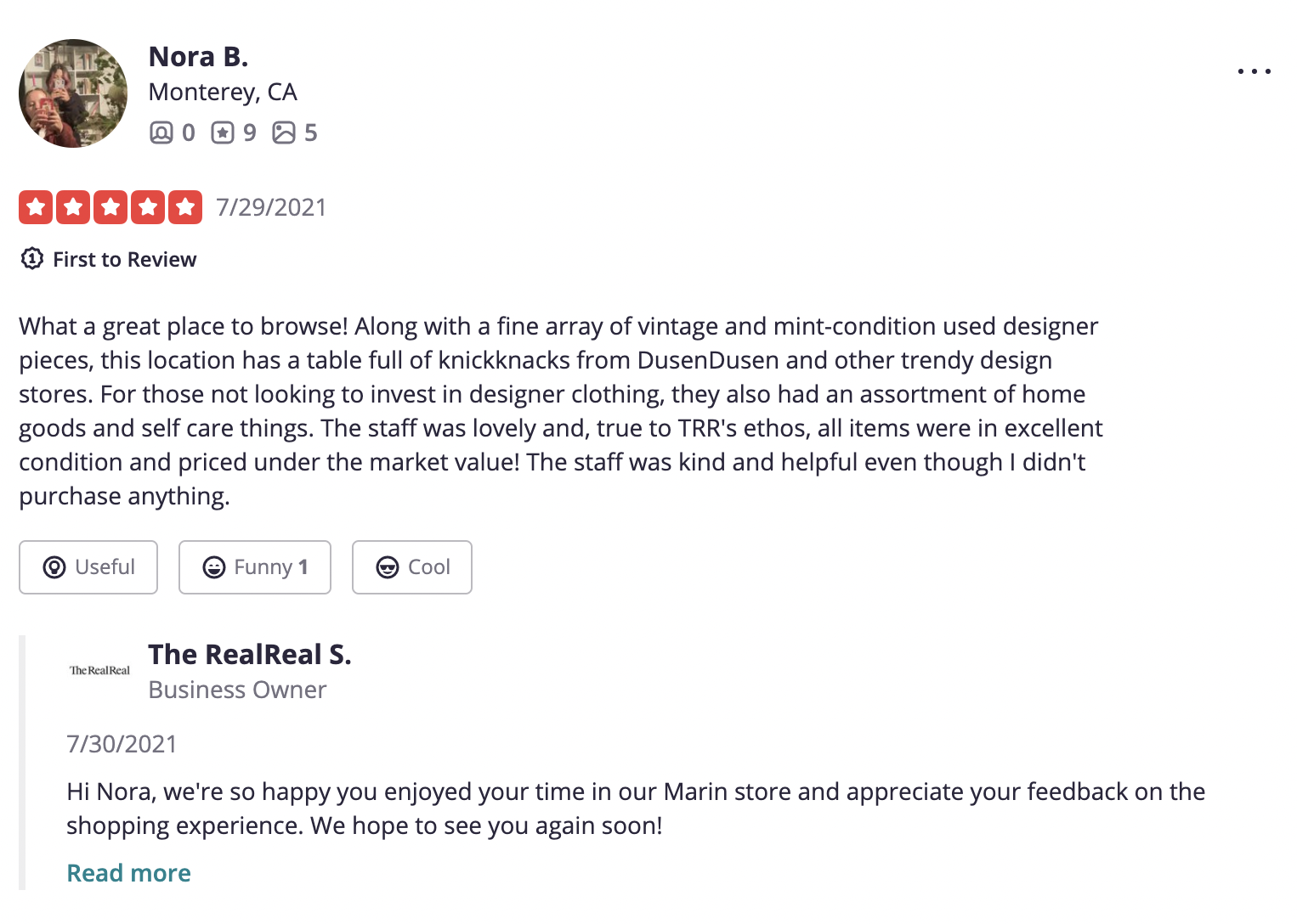 Example of a positive review / experience being responded to.