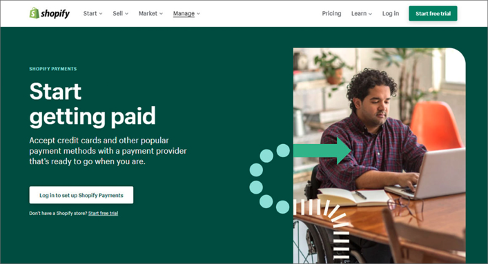 Screenshot of Shopify Payments homepage