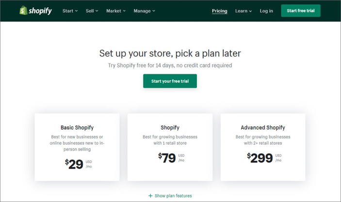 Screenshot of Shopify Payment Plans