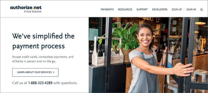 Online Payments - a screenshot of the visa solution - authorize.net