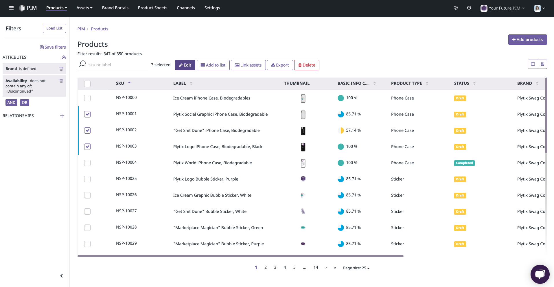 Example of Plytix dashboard with products